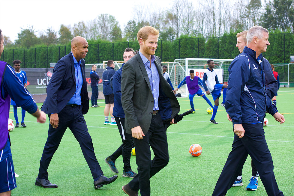 Prince Harry at the Tom Finney Soccer Centre
